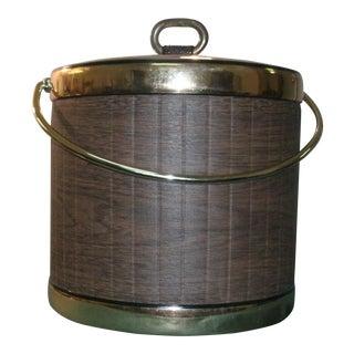 Mid 20th Century Faux Wood Grain & Gold Kraftware Ice Bucket For Sale