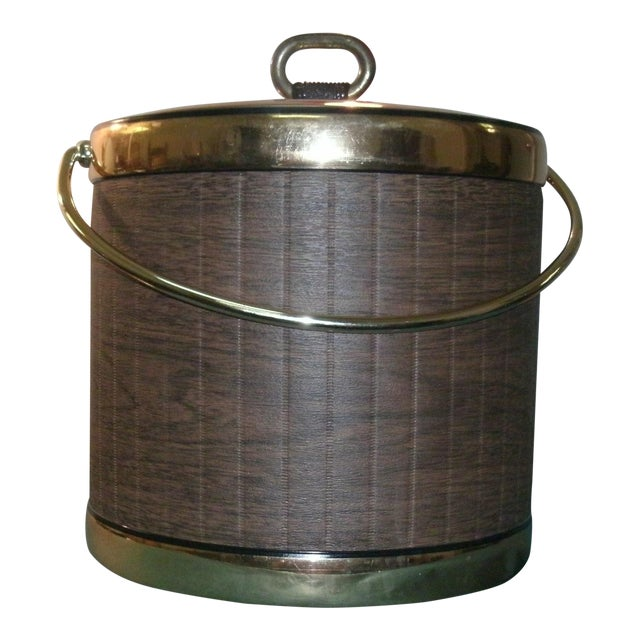 Mid 20th Century Faux Wood Grain & Gold Kraftware Ice Bucket For Sale