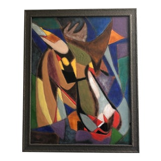 1970s Vintage Harold Black Cubist Enamel on Steel Painting For Sale