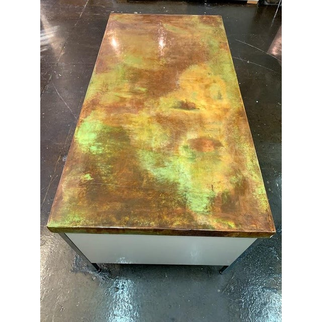Mid 19th Century Vintage Allsteel Executive Tanker Desk With Custom Stained Concrete Top in Warm Tones For Sale - Image 5 of 7