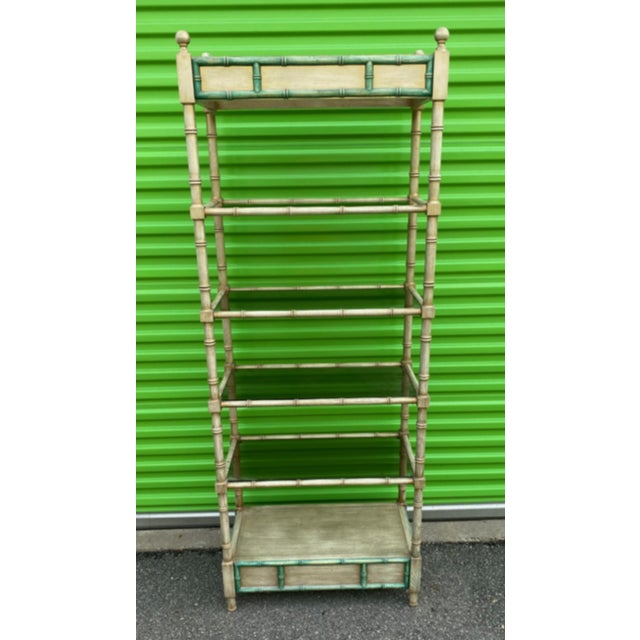 Mid-Century Modern Faux Bamboo Etagere For Sale - Image 10 of 10