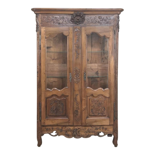19th Century Country French Provincial Walnut Vitrine ~ Bookcase For Sale