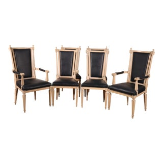 Set of 6 Tall Back Cerused and Black Upholstered French Louis XVI Dining Chairs For Sale