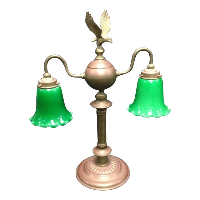 Vintage Emerald Glass Eagle Brass Lamp - Image 1 of 6