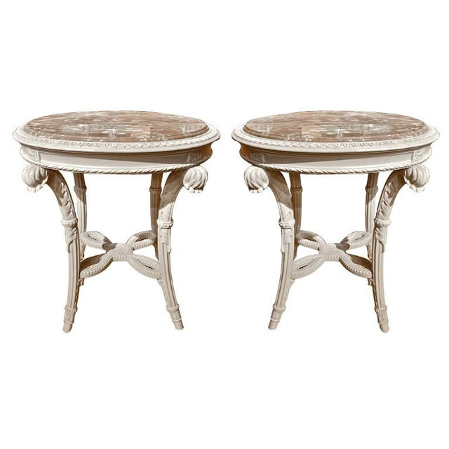 Pair of Neoclassical Painted Marble Top Gueridons or End Tables For Sale - Image 9 of 9