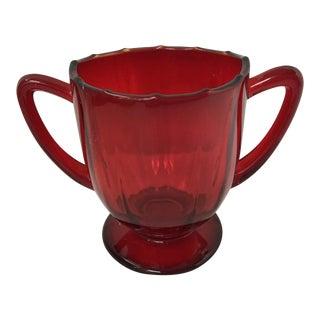 Red Depression Glass Sugar Holder For Sale