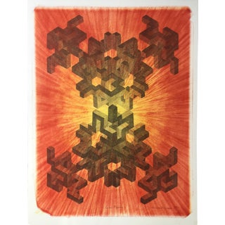 """Cubal Fission"" 1979 Abstract Original Lithograph"