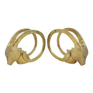 Modern Brass Gazelle Bookends - a Pair For Sale