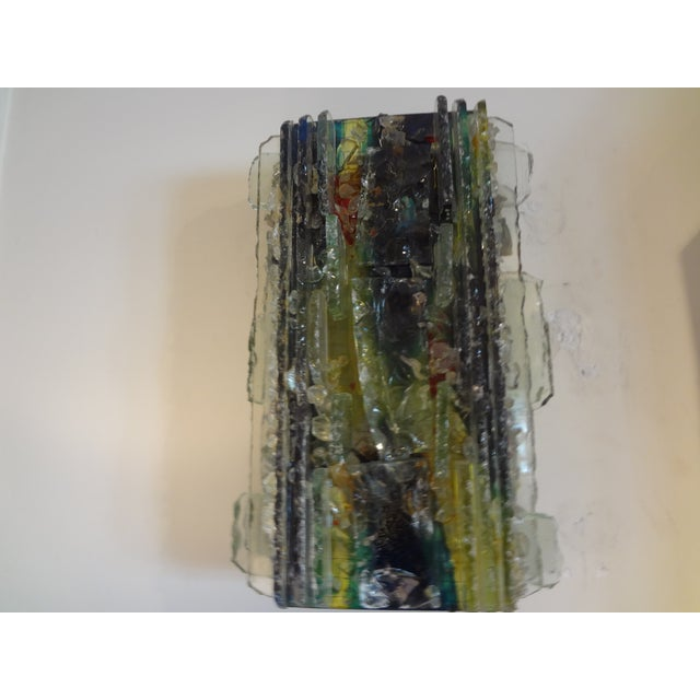 Glass Multicolored Applied Glass Sconces - A Pair For Sale - Image 7 of 7