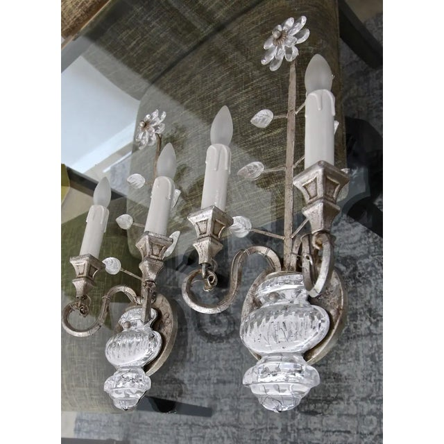 1970s Banci Crystal Silver Gilt Flower Wall Sconces - a Pair For Sale - Image 5 of 13