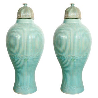 Mid Century Large Moorish Blue Ceramic Urns With Lid - a Pair For Sale