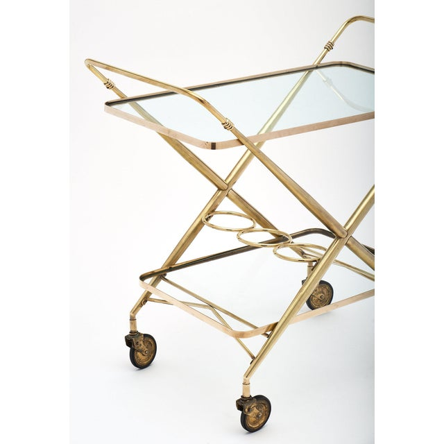 Art Deco Vintage French Brass Bar Cart For Sale - Image 3 of 11