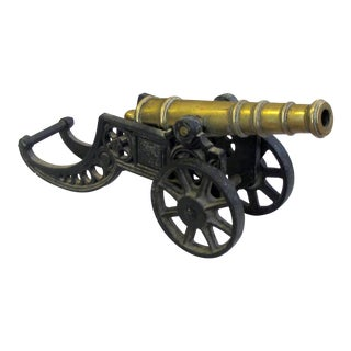 A Finely Rendered English Victorian Brass Ornamental Signal Cannon on Cast Iron Carriage For Sale