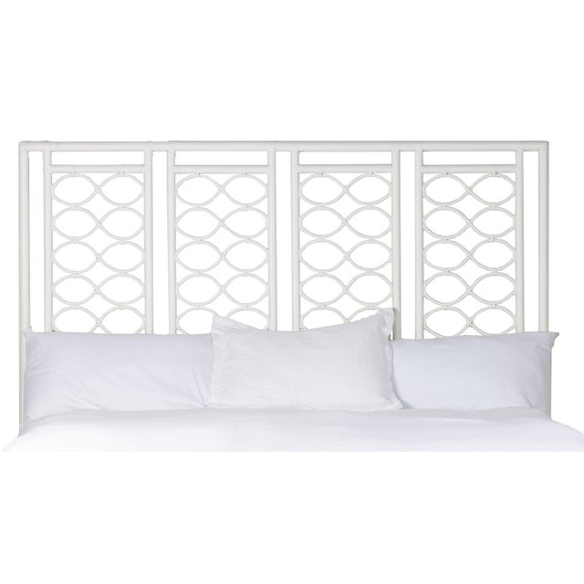 This headboard features classic Rattan design in a geometric pattern. Constructed of solid rattan and hand bound with...