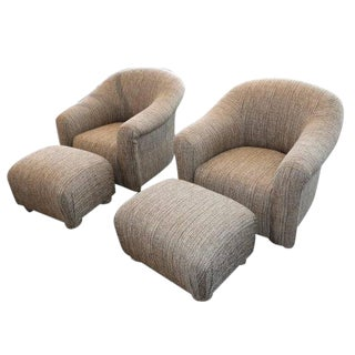 Swivel A. Rudin Chairs and Matching Ottomans- A Pair For Sale