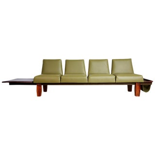 Jorge Zalszupin for l'Atelier Brazilian Rosewood and Leather Sofa W/ Side Table For Sale