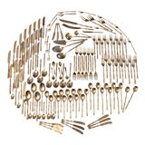 Image of Brass Faux Bamboo Flatware, Service for 12, Set of 144 Pieces For Sale