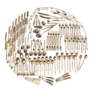Brass Faux Bamboo Flatware, Service for 12, Set of 144 Pieces For Sale