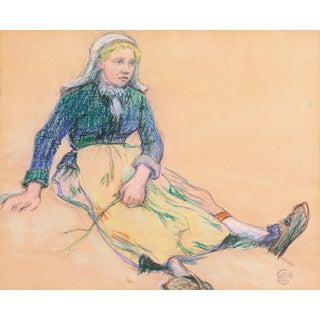 'La Ramasseuse De Varech' by Claude Emile Schuffenecker, 1883; Young Bretonne Kelp Gatherer, Paul Gauguin For Sale