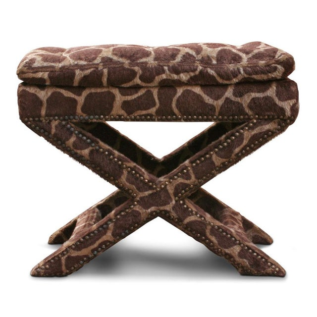Giraffe Print Upholstered X-Frame Bench after Billy Baldwin For Sale - Image 4 of 5