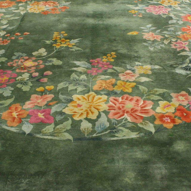 Early 20th Century Antique Chinese Art Deco Rug, Green Chinese Art Deco Rug For Sale - Image 4 of 10