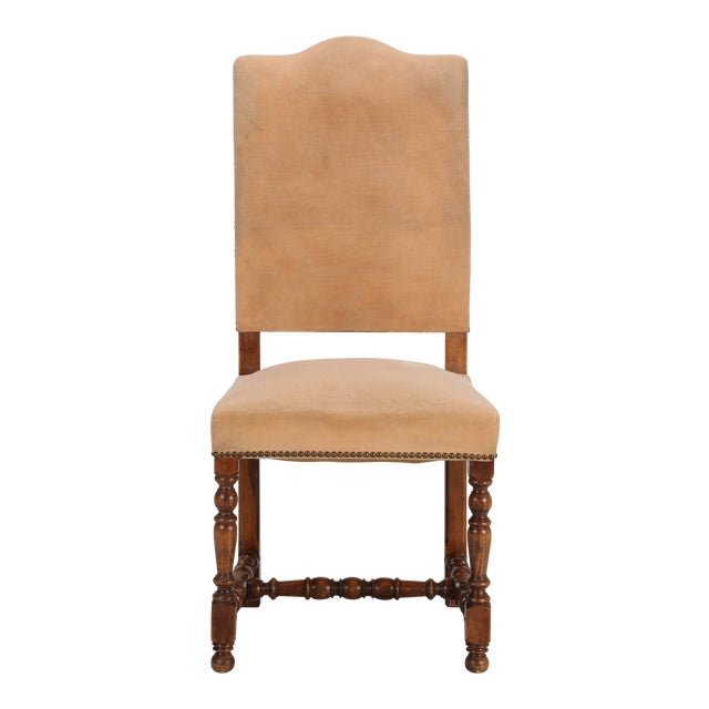 Vintage set of six French side chairs in their rather tired old upholstery. The nice thing about this set of six French...