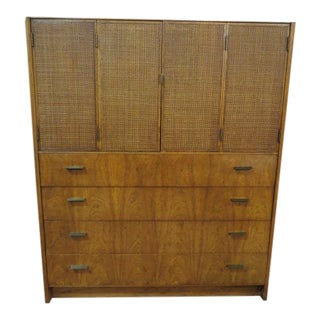 1960s Mid Century Modern Walnut Chest of Drawers With Caned Door Top For Sale