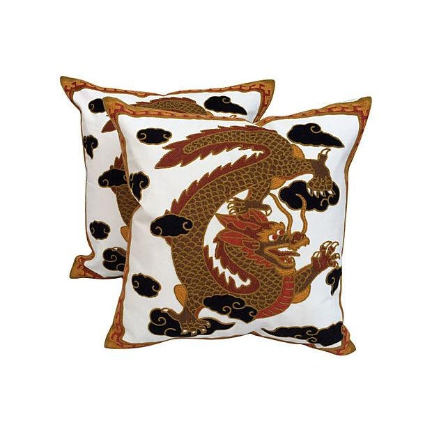 Gold Dragon Embroidred Pillows - Pair - Image 1 of 4