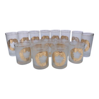 Vintage Christmas Glasses by Culver - Set of 15 For Sale