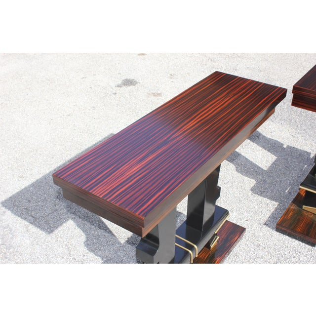 Art Deco Classic Pair of French Art Deco Exotic Macassar Ebony Console Tables, Circa 1940s For Sale - Image 3 of 13