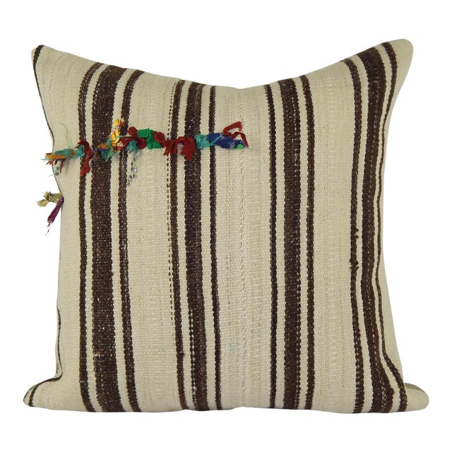 "Vintage Turkish Hemp Kilim Pillow Cover 24"" X 24"" For Sale"