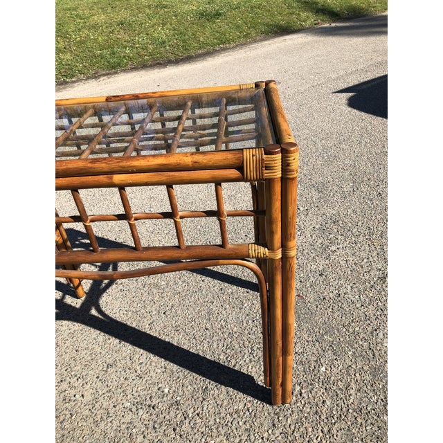 1970s Boho Chic Rattan Console For Sale In Charleston - Image 6 of 9