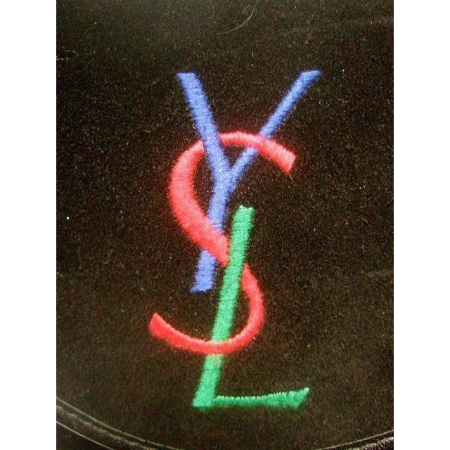 Yves Saint Laurent Chic black suede YSL embroidered handbag The stylish handbag is covered with plush black suede...