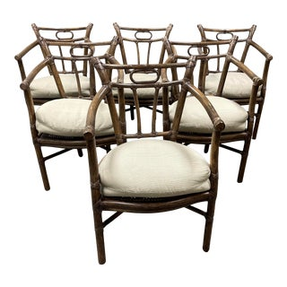 Late 20th Century McGuire Furniture Delfino Dining Arm Chairs, Set of Six For Sale