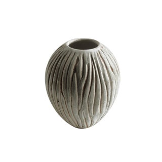 Vintage Egg Form Vase Individually Carved by Weston Neil Andersen For Sale