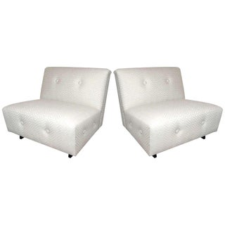 Hollywood Regency Lounge Chairs With Chevron Print - a Pair For Sale
