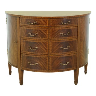 Maitland Smith Flame Mahogany 1/2 Round Demilune Commode Chest For Sale