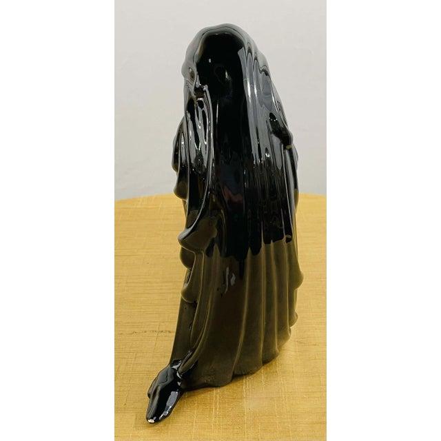 Art Deco Style Porcelain Figural Woman Sculpture Painted Black For Sale - Image 10 of 13