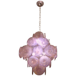 Vistosi 1970s Art Deco Iridescent Amethyst Murano Glass Round Disk Chandelier For Sale