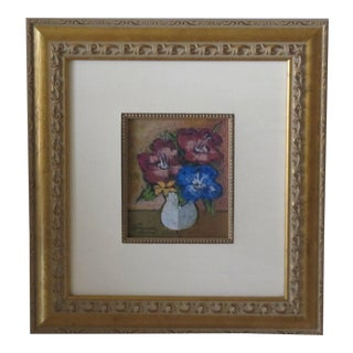 Vintage French Pastel Painting of Flowers For Sale