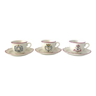 Vintage Saint-Armand French Revolution Faience Teacups and Saucers - Service for 3 For Sale