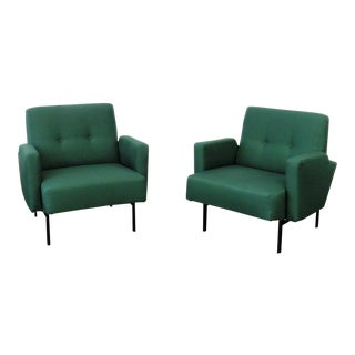 Mid-Century Modern Green Upholstered Club Chairs - a Pair