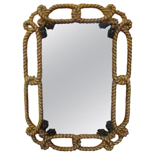 Italian Gilt Wood Mirror With Rope and Tassels For Sale