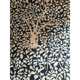 Traditional China Seas Quadrille Arbre De Matisse Reverse in Blue Linen Blend Fabric - 2 2/8 Yards For Sale