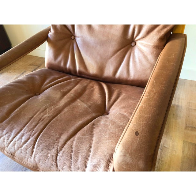 Ingmar Relling for Westnofa Mid-Century Modern Leather Siesta Chair With Ottoman For Sale - Image 12 of 13