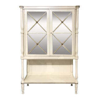 Drexel Heritage Transitional White Wood and Mirrored Door Cabinet For Sale
