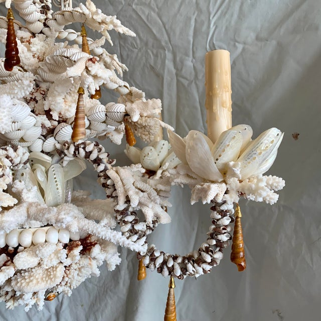 """Chic white and caramel chandelier decorated with exotic shells. The """"crystals"""" are set with jewelry findings to give it a..."""