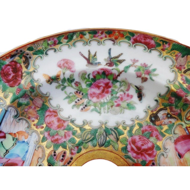 Ceramic 19th C Chinese Export Porcelain Rose Medallion Soup Plate For Sale - Image 7 of 11