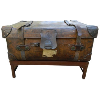 English Leather Suitcase Adapted as a Coffee Table on Stand, 19th Century For Sale