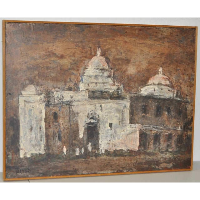 """Louie Bassi Siegriest modernist oil painting c.1950s, titled """"Church in Mexico"""". Original oil on board. Signed lower left...."""